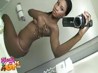 Ebony babe filming her hot body