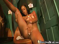 Sexy black girl strips and strokes her amazing pink pussy