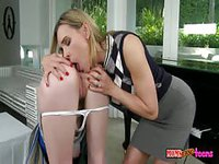 Mature lady making out with her stepdaughter