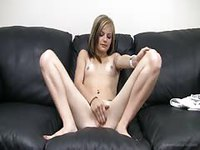 Tiny and skinny blonde teen strips and plays with her pussy