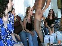 Wild girls suck stripper in public