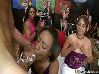 Wild party girls jerk off stripper