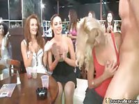 Party girls suck on stripper cock