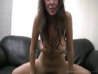 Hot brunette takes a pounding from behind