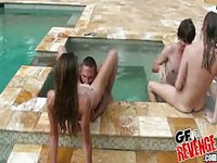 Cute girlfriends get licked in outdoor pool