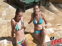 Teen girls get naked in the pool