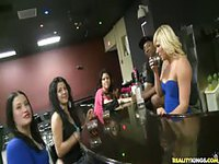 Amateur bartenders convince girls to show their tits at the bar