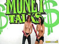 Horny babes gets dared for money