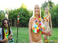 Slutty blondes in Hawaiian outfit