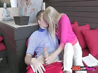 Blonde mommy makes out with her daughter's man