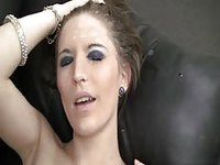 Slut takes jizz on her head