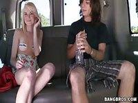 Blonde hottie rides a bang bus