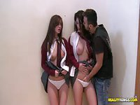 Two young ladies fucked by a punky lad
