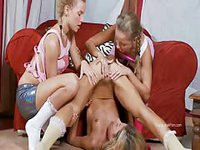 Three sexy blondes exchange pussy lickings