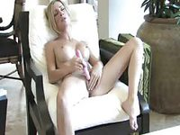 Sensual horny wife pleasing her pussy