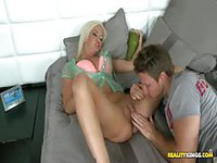 Sinful blonde teen fingered and licked