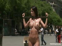 Big titty sex slave exposed on public streets