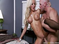 Sinful blonde with huge boobs screwed