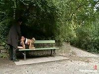 Blindfolded naked teen abused on park bench