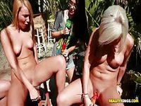Hot girls toy their pussies in public