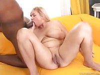 Chubby blonde wife cheating by sucking on her first big black dick