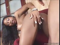 Ebony babe has her well used fuck hole pounded by black stud