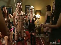 Pack of filthy hot females tie up a stud and use him as they please
