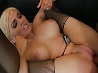 Fabulous blonde cougar with fake juggs getting slammed