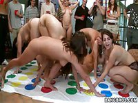 Sexy drunk college coeds get freaky during naked Twister