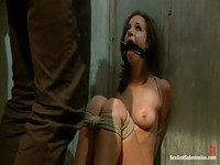 A massive cock shoved in and out of her mouth while shes bound and helpless