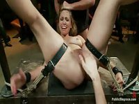 Amateur bondage sluts getting their pussies worked in the dungeon