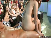 Horny barely legal girl doesn't mind fucking the stripper in front of her crew