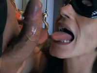 Amateur housewife in a mask giving head and fucking