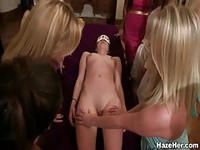 Naked lady touching party
