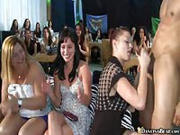 Naughty strip club goers get horny and treat the male dancers to fantastic blowjobs