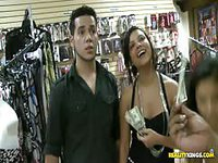 Fun girl teases camera for cash