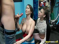 Big-boobed brunette shows off her tits and gives head