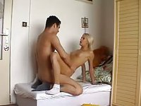 Platinum blonde whore likes cock from all angles, all the time