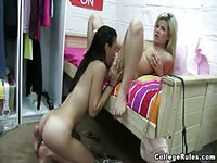 Blonde woman gets head from slutty brunette who just got done fucking man