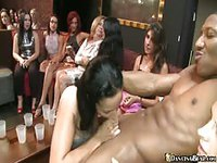 Horny babes trying to impress black guy with their titties and head skills