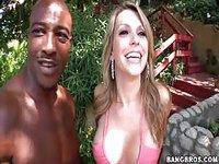 Black man shows his cute blonde girlfriend some lovin'