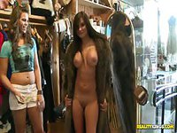 Getting naked and putting on a fur coat