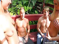 Group of friends having fun and getting naked in the shade