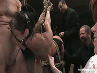 Kinky woman tied up and has all her holes punished