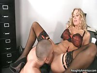 Horny blonde seduces guy for job