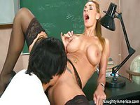 Teacher in green top lets her student fuck her