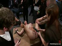 Kinky hottie spreads her legs for group of strangers to do kinky things to her