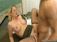 Blonde teacher fucking male student