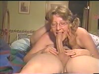 Homemade video featuring a nerdy wife giving a fantastic deepthroat blowjob