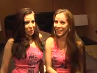 Charismatic amateur twin sisters teasing and having fun in front of this is the camera